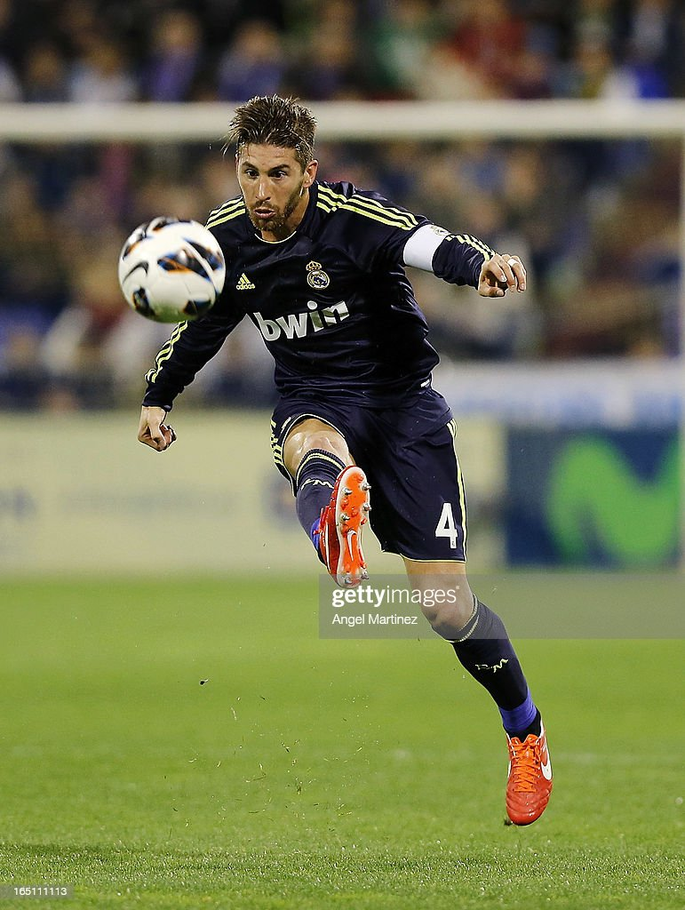 Sergio Ramos of Real Madrid in action during the La Liga match between Real Zaragoza and Real Madrid at La Romareda on March 30, 2013 in Zaragoza, Spain.