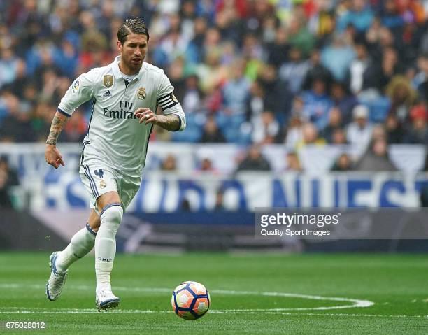 Sergio Ramos of Real Madrid in action during the La Liga match between Real Madrid CF and Valencia CF at Estadio Santiago Bernabeu on April 29 2017...