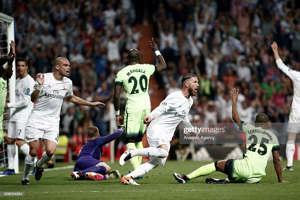 Sergio Ramos (R 2) of Real Madrid in action during the UEFA Champions League semi-final second leg football match between Real Madrid and Manchester City at the Santiago Bernabeu Stadium in Madrid, Spain on May 4, 2016.
