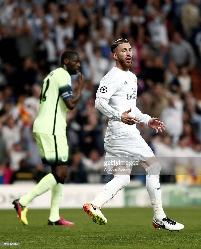 Sergio Ramos (R) of Real Madrid in action during the UEFA Champions League semi-final second leg football match between Real Madrid and Manchester City at the Santiago Bernabeu Stadium in Madrid, Spain on May 4, 2016.