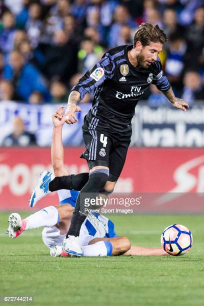 Sergio Ramos of Real Madrid in action during their La Liga match between Deportivo Leganes and Real Madrid at the Estadio Municipal Butarque on 05...