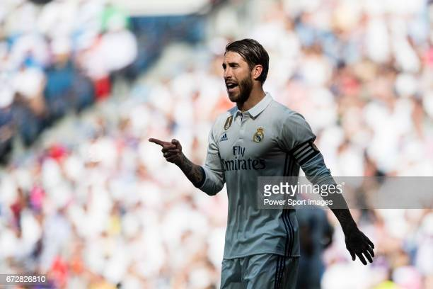 Sergio Ramos of Real Madrid in action during their La Liga match between Real Madrid and Atletico de Madrid at the Santiago Bernabeu Stadium on 08...