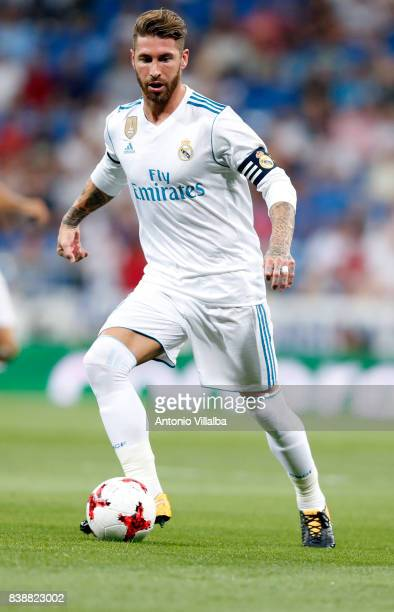 Sergio Ramos of Real Madrid in actions during the match The Trofeo Santiago Bernabeu betwenn Real Madrid CF and ACF Fiorentina at Estadio Santiago...