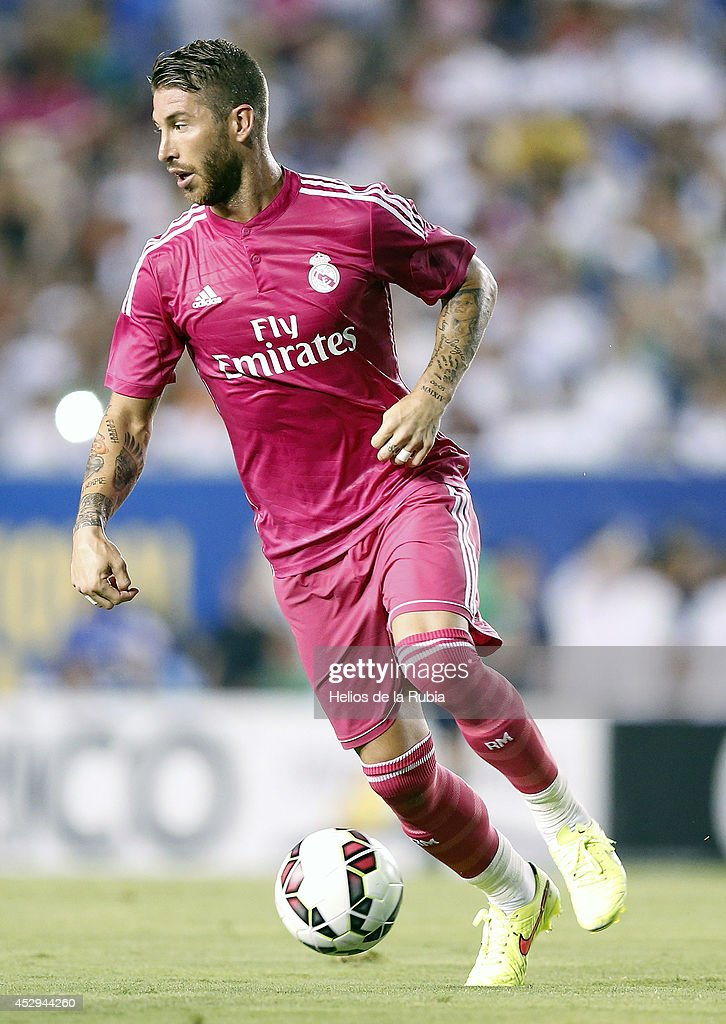 Sergio Ramos of Real Madrid in actions during the pre-season between Real Madrid and Roma at Guinness International Champions Cup 2014 game at Cotton Bowl on July 29, 2014 in Dallas, Texas.