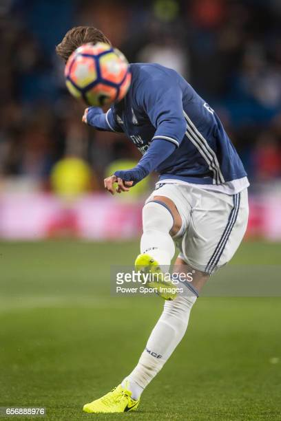Sergio Ramos of Real Madrid in training prior to the La Liga match between Real Madrid and Real Betis at the Santiago Bernabeu Stadium on 12 March...