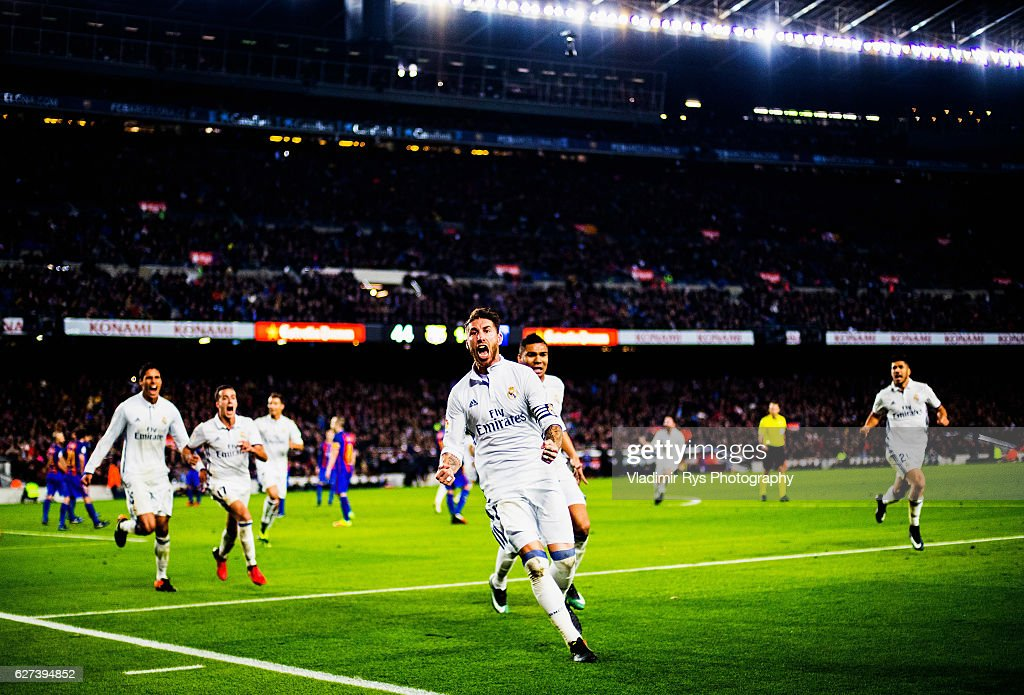 Sergio Ramos of Real Madrid is celebrates after scoring the 11 goal during the La Liga match between FC Barcelona and Real Madrid CF at Camp Nou...
