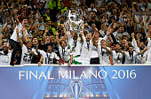 Sergio Ramos of Real Madrid lifts the Champions League trophy after the UEFA Champions League Final match between Real Madrid and Club Atletico de...