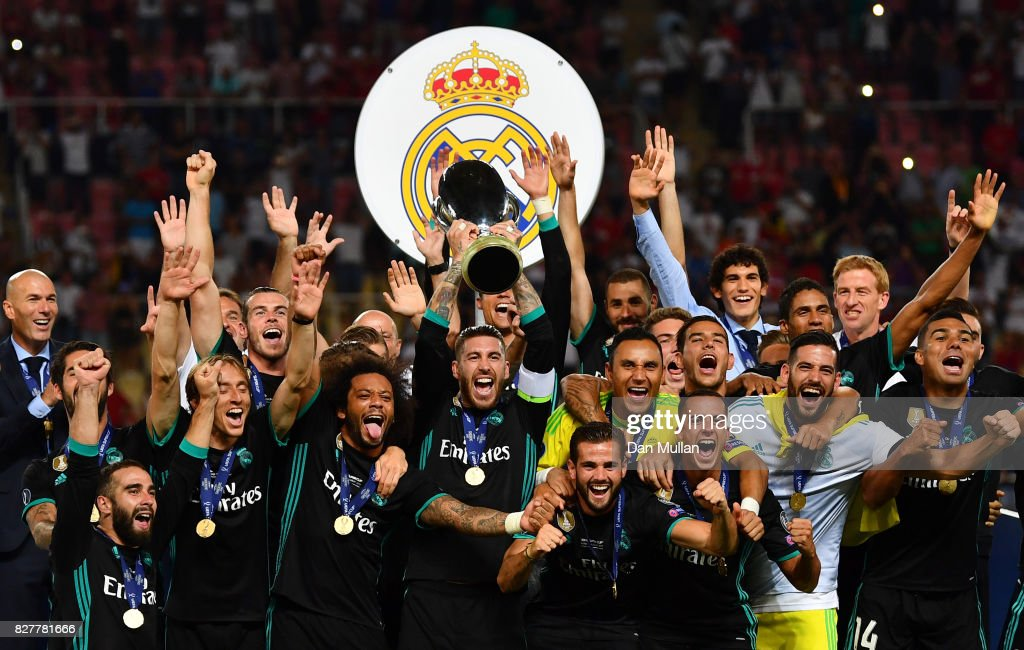 Sergio Ramos of Real Madrid lifts The UEFA Super Cup trophy after the UEFA Super Cup final between Real Madrid and Manchester United at the Philip II Arena on August 8, 2017 in Skopje, Macedonia.