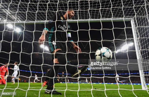 Sergio Ramos of Real Madrid looks dejected following Tottenham Hotspur's first goal during the UEFA Champions League group H match between Tottenham...
