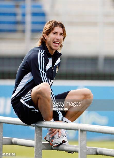 Sergio Ramos of Real Madrid looks on during a training session ahead of Tuesday's Copa del Rey match against Alcorcon at Valdebebas on October 25...