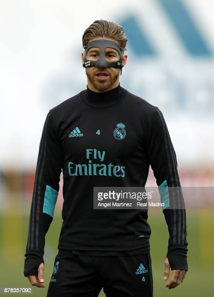 Sergio Ramos of Real Madrid looks on during a training session at Valdebebas training ground on November 24 2017 in Madrid Spain