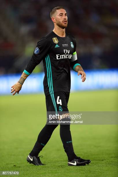 Sergio Ramos of Real Madrid looks on during Super UEFA super Cup match between Real Madrid and Manchester United on August 8 2017 in Skopje Macedonia