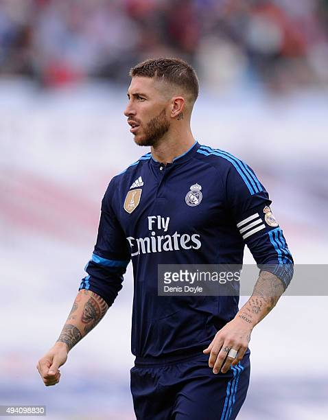 Sergio Ramos of Real Madrid looks on during the La Liga match between Celta Vigo and Real Madrid at Estadio Balaidos on October 24 2015 in Vigo Spain