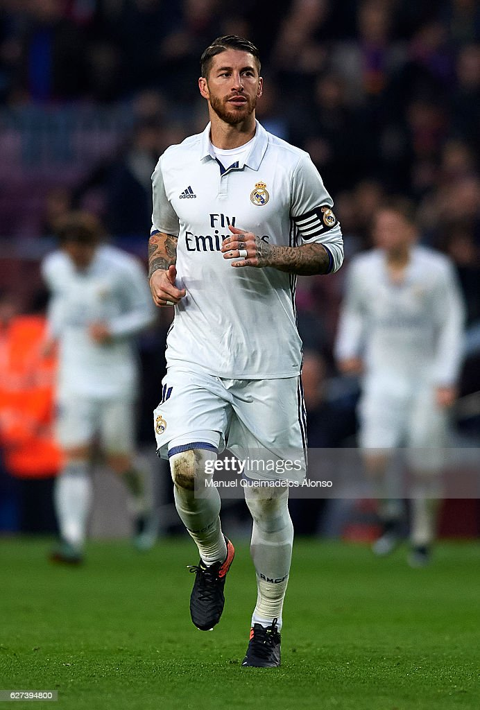 Sergio Ramos of Real Madrid looks on during the La Liga match between FC Barcelona and Real Madrid CF at Camp Nou stadium on December 03 2016 in...