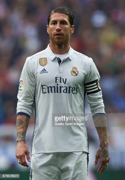 Sergio Ramos of Real Madrid looks on during the La Liga match between Real Madrid CF and Valencia CF at Estadio Santiago Bernabeu on April 29 2017 in...
