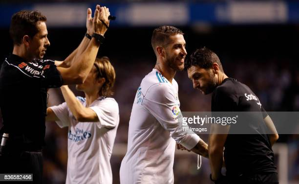 Sergio Ramos of Real Madrid looks on during the La Liga match between Deportivo La Coruna and Real Madrid at Riazor Stadium on August 20 2017 in La...