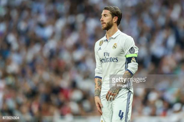 Sergio Ramos of Real Madrid looks on during the UEFA Champions League Quarter Final second leg match between Real Madrid CF and FC Bayern Muenchen at...