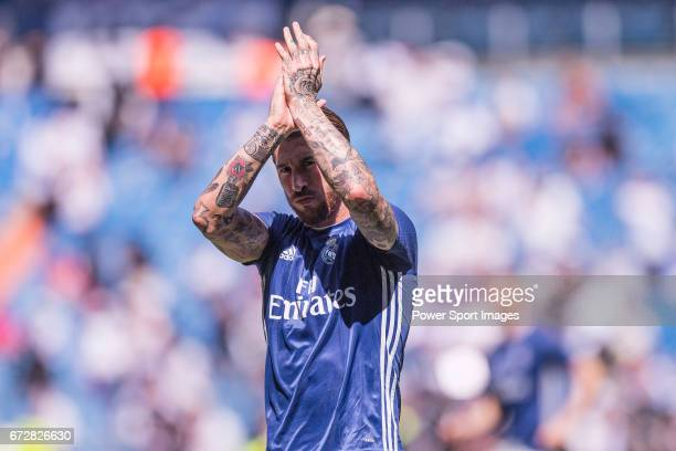 Sergio Ramos of Real Madrid prior to the La Liga match between Real Madrid and Atletico de Madrid at the Santiago Bernabeu Stadium on 08 April 2017...