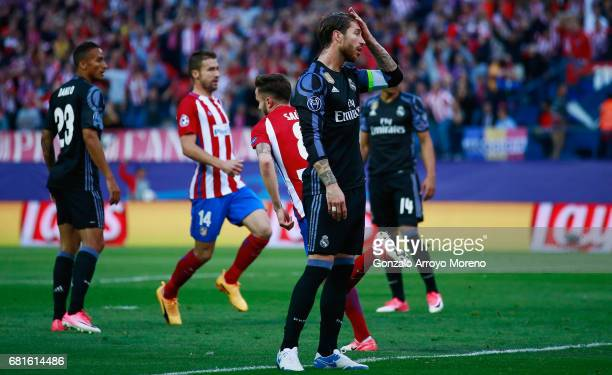 Sergio Ramos of Real Madrid reacts after the goal scored by Saul Niguez of Atletico Madrid during the UEFA Champions League Semi Final second leg...