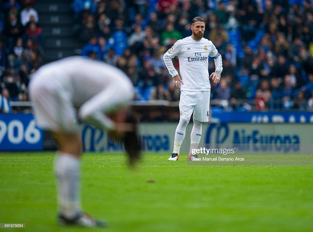 Sergio Ramos of Real Madrid reacts during the La Liga match between RC Deportivo La Coruna and Real Madrid CF at Riazor Stadium on May 14, 2016 in La Coruna, Spain.