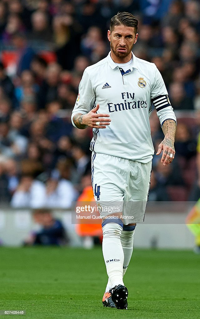 Sergio Ramos of Real Madrid reacts during the La Liga match between FC Barcelona and Real Madrid CF at Camp Nou stadium on December 03 2016 in...