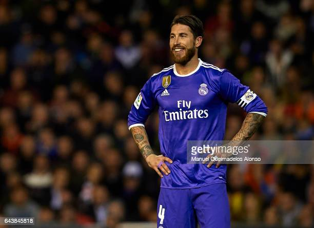 Sergio Ramos of Real Madrid reacts during the La Liga match between Valencia CF and Real Madrid at Mestalla Stadium on February 22 2017 in Valencia...
