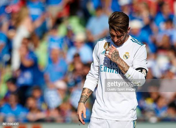 Sergio Ramos of Real Madrid reacts during the La Liga match between Getafe and Real Madrid at Estadio Coliseum Alfonso Perez on October 14 2017 in...