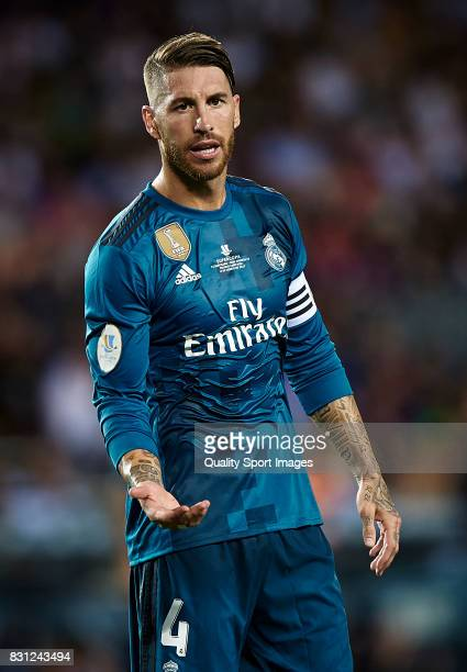 Sergio Ramos of Real Madrid reacts during the Supercopa de Espana Supercopa Final 1st Leg match between FC Barcelona and Real Madrid at Camp Nou on...