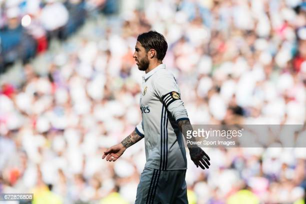 Sergio Ramos of Real Madrid reacts during their La Liga match between Real Madrid and Atletico de Madrid at the Santiago Bernabeu Stadium on 08 April...