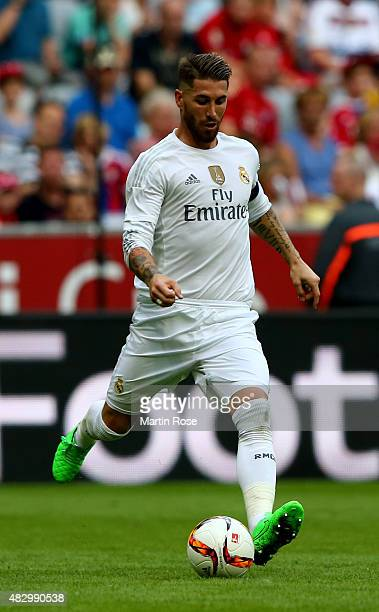 Sergio Ramos of Real Madrid runs with the ball during the Audi Cup 2015 match between Real Madrid and Tottenham Hotspur at Allianz Arena on August 4...