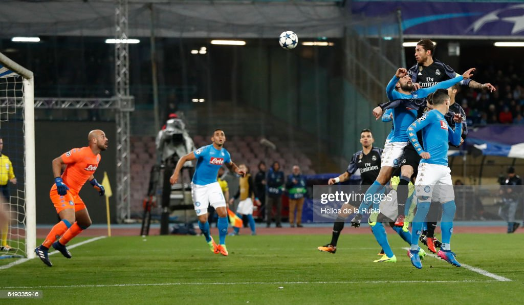 Sergio Ramos of Real Madrid score the goal during the UEFA Champions League Round of 16 second leg match between SSC Napoli and Real Madrid CF at Stadio San Paolo on March 7, 2017 in Naples, Italy.