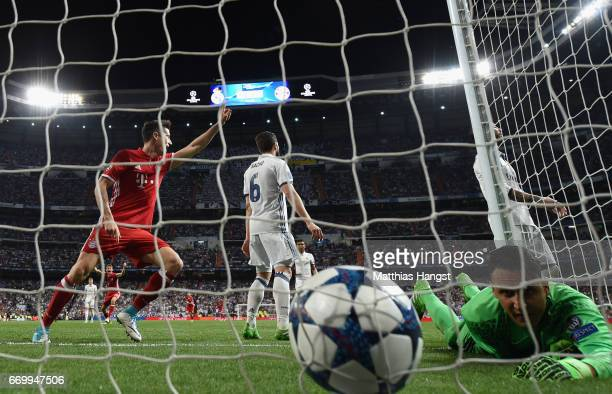 Sergio Ramos of Real Madrid scores a own goal for Bayern Muenchen second goal during the UEFA Champions League Quarter Final second leg match between...
