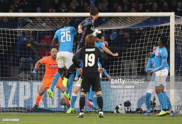 Sergio Ramos of Real Madrid scores his team's second goal during the UEFA Champions League Round of 16 second leg match between SSC Napoli and Real...