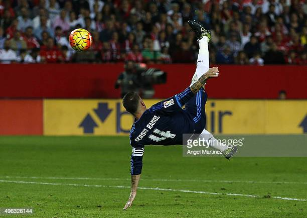 Sergio Ramos of Real Madrid scores the opening goal during the La Liga match between Sevilla FC and Real Madrid CF at Estadio Ramon Sanchez Pizjuan...