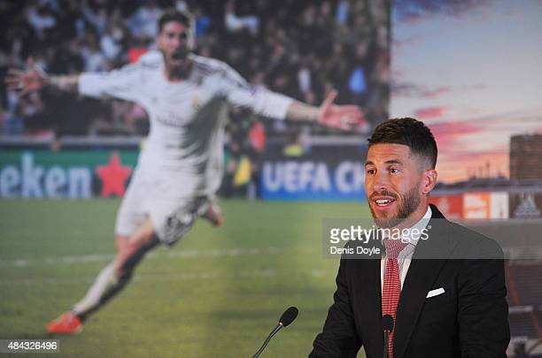 Sergio Ramos of Real Madrid smiles during a press conference to announce his new fiveyear contract with Real Madrid at the Santiago Bernabeu stadium...
