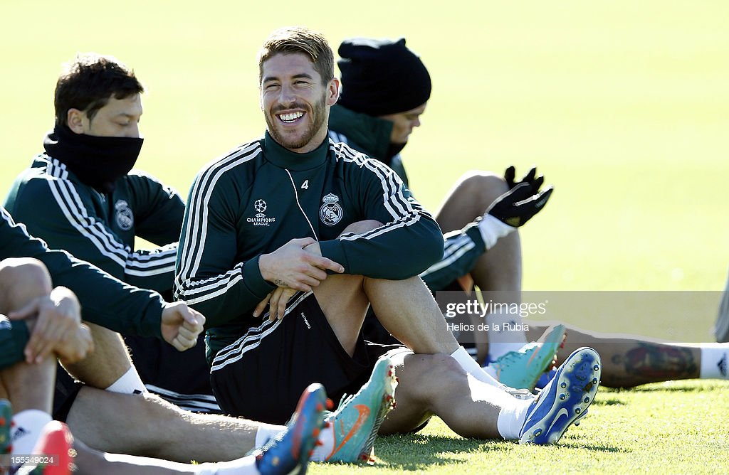 Sergio Ramos of Real Madrid smiles during a training session ahead of their UEFA Champions League group stage match against Borussia Dortmund at Valdebebas training ground on November 5, 2012 in Madrid, Spain.