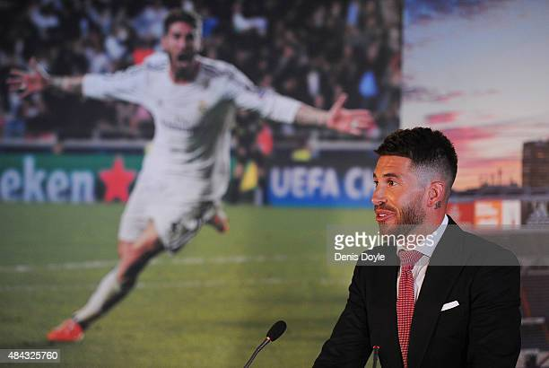 Sergio Ramos of Real Madrid speaks during a press conference to announce his new fiveyear contract with Real Madrid at the Santiago Bernabeu stadium...