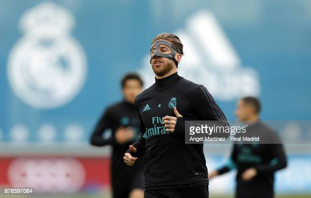 Sergio Ramos of Real Madrid warms up during a training session at Valdebebas training ground on November 24 2017 in Madrid Spain