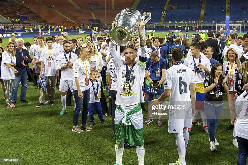 Sergio Ramos of Real Madrid with Champions League trophy, Coupe des clubs Champions Europeeens during the UEFA Champions League final match between Real Madrid and Atletico Madrid on May 28, 2016 at the Giuseppe Meazza San Siro stadium in Milan, Italy.