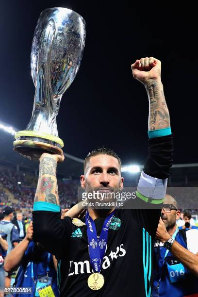 Sergio Ramos of Real Madrid with the trophy after his team won during the UEFA Super Cup match between Real Madrid and Manchester United at National...