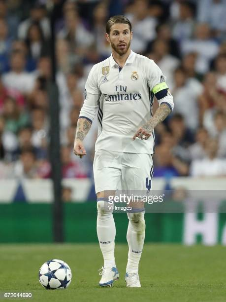 Sergio Ramos of Real Madridduring the UEFA Champions League quarter final match between Real Madrid and Bayern Munich on April 18 2017 at the...