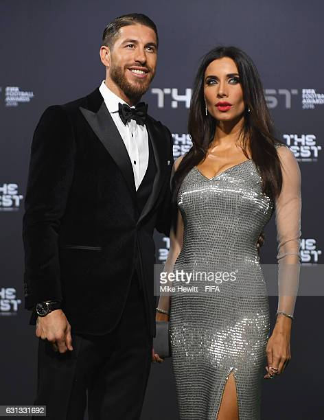 Sergio Ramos of Spain and Real Madrid and his wife Pilar Rubio pose as they arrive for The Best FIFA Football Awards at TPC Studio on January 9 2017...