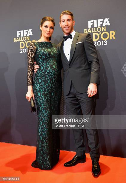 Sergio Ramos of Spain and Real Madrid poses with Pilar Rubio as they arrive for the FIFA Ballon d'Or Gala 2013 at the Kongresshaus on January 13 2014...
