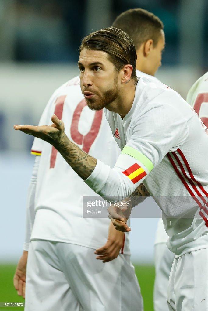 Sergio Ramos of Spain celebrates his goal during Russia and Spain International friendly match on November 14, 2017 at Saint Petersburg Stadium in Saint Petersburg, Russia.