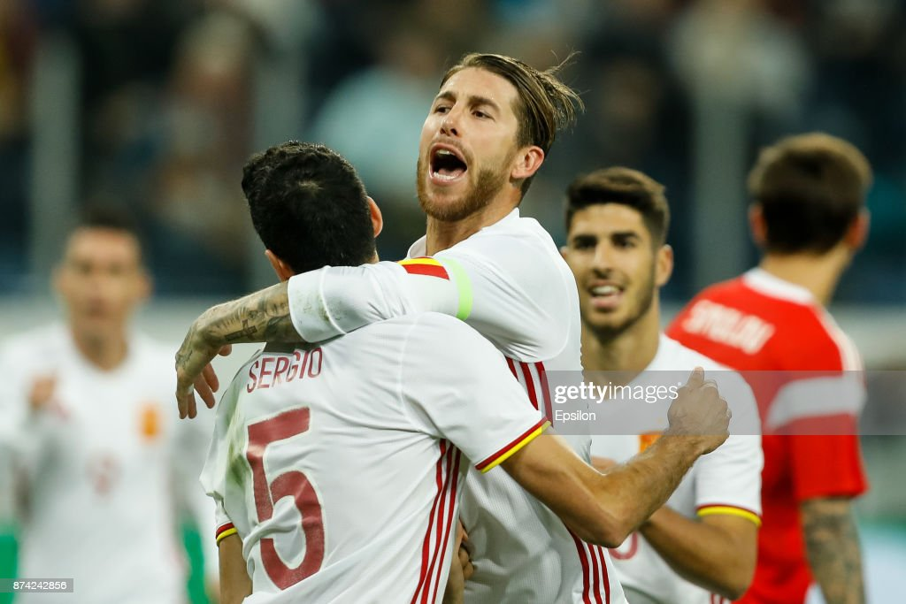 Sergio Ramos (C) of Spain celebrates his goal with teammates during Russia and Spain International friendly match on November 14, 2017 at Saint Petersburg Stadium in Saint Petersburg, Russia.