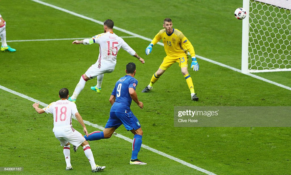 Sergio Ramos of Spain clears the ball during the UEFA EURO 2016 round of 16 match between Italy and Spain at Stade de France on June 27, 2016 in Paris, France.