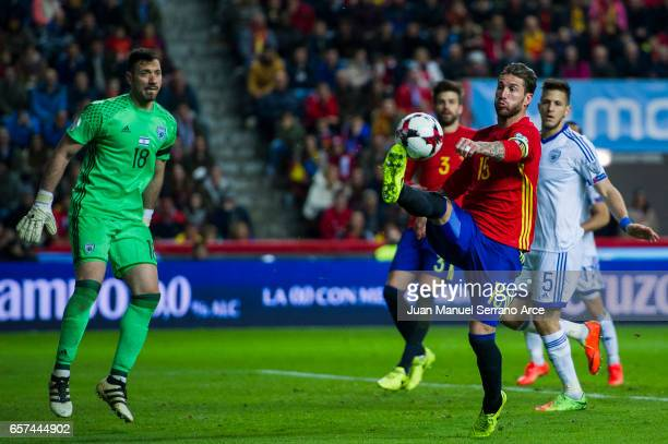 Sergio Ramos of Spain controls the ball during the FIFA 2018 World Cup Qualifier between Spain and Israel at Estadio El Molinon on March 24 2017 in...