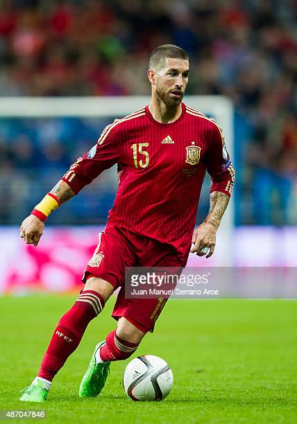 Sergio Ramos of spain controls the ball during the Spain v Slovakia EURO 2016 Qualifier at Carlos Tartiere on Sep 5 2015 in Oviedo SpainÊ