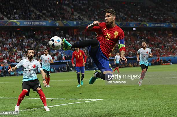 Sergio Ramos of Spain controls the ball during the UEFA EURO 2016 Group D match between Spain and Turkey at Allianz Riviera Stadium on June 17 2016...