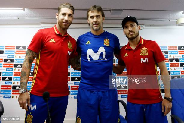 Sergio Ramos of Spain David Silva of Spain and Head coach Julen Lopetegui attends a press conference on October 5 2017 in Alicante Spain